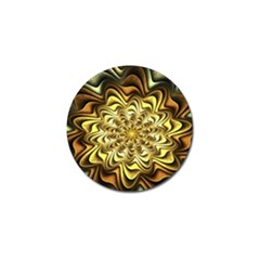 Fractal Flower Petals Gold Golf Ball Marker (4 Pack)