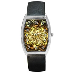 Fractal Flower Petals Gold Barrel Style Metal Watch