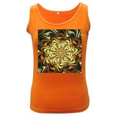 Fractal Flower Petals Gold Women s Dark Tank Top