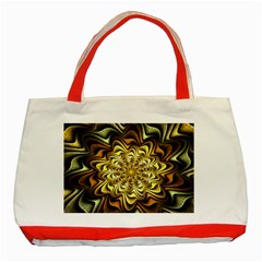 Fractal Flower Petals Gold Classic Tote Bag (red)