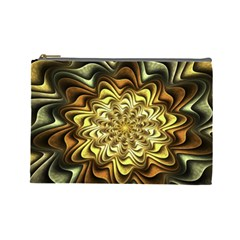 Fractal Flower Petals Gold Cosmetic Bag (large)