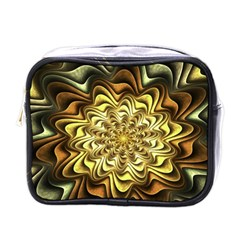 Fractal Flower Petals Gold Mini Toiletries Bags