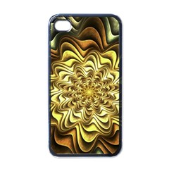 Fractal Flower Petals Gold Apple Iphone 4 Case (black)