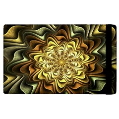 Fractal Flower Petals Gold Apple Ipad 2 Flip Case
