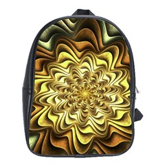 Fractal Flower Petals Gold School Bag (xl)