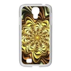Fractal Flower Petals Gold Samsung Galaxy S4 I9500/ I9505 Case (white)