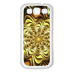 Fractal Flower Petals Gold Samsung Galaxy S3 Back Case (white)