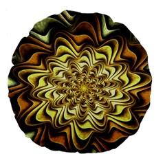 Fractal Flower Petals Gold Large 18  Premium Flano Round Cushions