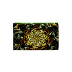 Fractal Flower Petals Gold Cosmetic Bag (xs)