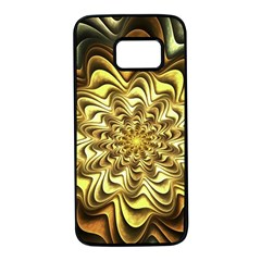 Fractal Flower Petals Gold Samsung Galaxy S7 Black Seamless Case