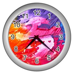 Abstract Art Background Paint Wall Clocks (silver)