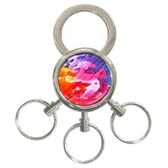 Abstract Art Background Paint 3 Ring Key Chains