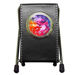 Abstract Art Background Paint Pen Holder Desk Clocks