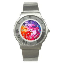Abstract Art Background Paint Stainless Steel Watch