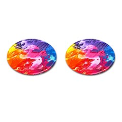 Abstract Art Background Paint Cufflinks (oval)