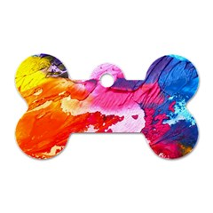 Abstract Art Background Paint Dog Tag Bone (two Sides)