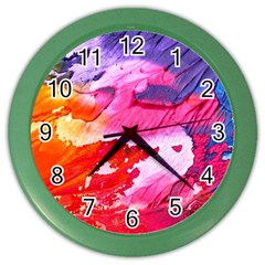 Abstract Art Background Paint Color Wall Clocks by Nexatart