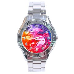 Abstract Art Background Paint Stainless Steel Analogue Watch