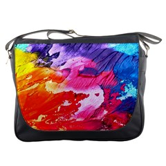 Abstract Art Background Paint Messenger Bags