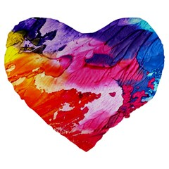 Abstract Art Background Paint Large 19  Premium Heart Shape Cushions