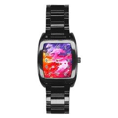 Abstract Art Background Paint Stainless Steel Barrel Watch
