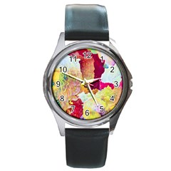 Art Detail Abstract Painting Wax Round Metal Watch