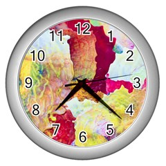 Art Detail Abstract Painting Wax Wall Clocks (silver)