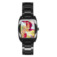 Art Detail Abstract Painting Wax Stainless Steel Barrel Watch