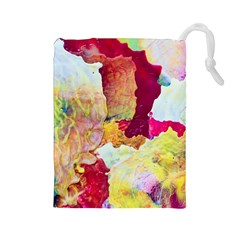 Art Detail Abstract Painting Wax Drawstring Pouches (large)