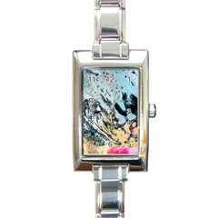 Abstract Structure Background Wax Rectangle Italian Charm Watch