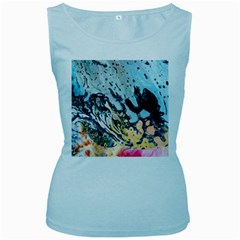 Abstract Structure Background Wax Women s Baby Blue Tank Top