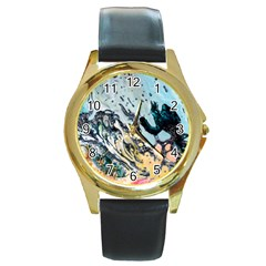 Abstract Structure Background Wax Round Gold Metal Watch
