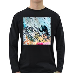 Abstract Structure Background Wax Long Sleeve Dark T Shirts