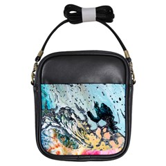 Abstract Structure Background Wax Girls Sling Bags