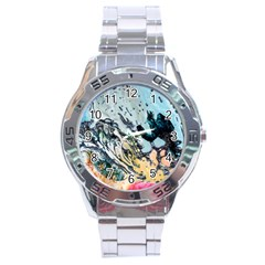 Abstract Structure Background Wax Stainless Steel Analogue Watch