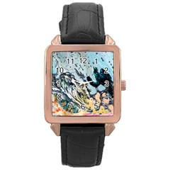 Abstract Structure Background Wax Rose Gold Leather Watch