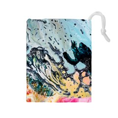 Abstract Structure Background Wax Drawstring Pouches (large)