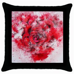 Flower Roses Heart Art Abstract Throw Pillow Case (black)