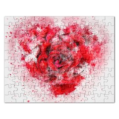 Flower Roses Heart Art Abstract Rectangular Jigsaw Puzzl