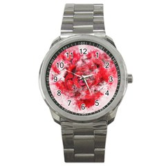 Flower Roses Heart Art Abstract Sport Metal Watch