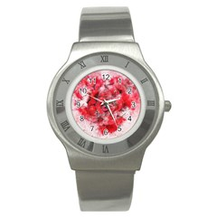 Flower Roses Heart Art Abstract Stainless Steel Watch
