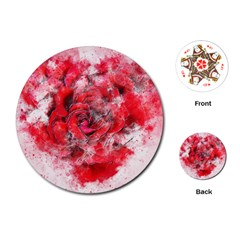 Flower Roses Heart Art Abstract Playing Cards (round)