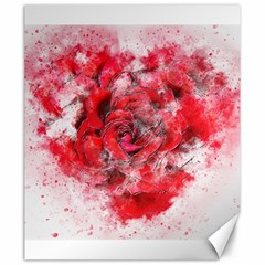 Flower Roses Heart Art Abstract Canvas 20  X 24