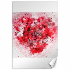 Flower Roses Heart Art Abstract Canvas 24  X 36