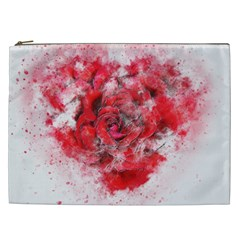 Flower Roses Heart Art Abstract Cosmetic Bag (xxl)
