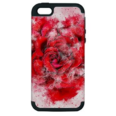Flower Roses Heart Art Abstract Apple Iphone 5 Hardshell Case (pc+silicone) by Nexatart
