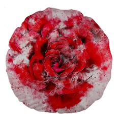 Flower Roses Heart Art Abstract Large 18  Premium Round Cushions