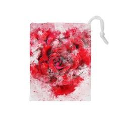 Flower Roses Heart Art Abstract Drawstring Pouches (medium)