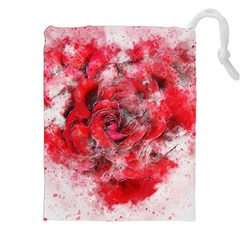 Flower Roses Heart Art Abstract Drawstring Pouches (xxl)