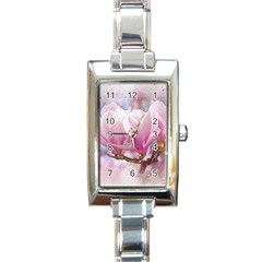 Flowers Magnolia Art Abstract Rectangle Italian Charm Watch